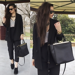 Amy Ha - Michael Kors Lana Tote, Forever 21 Blazer, Topshop High Waisted Trousers, London Rebel Creepers, Nixon Watch, Ray Ban Wayfarer - Creepy Business