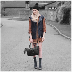 Charlotte Buttrick Lewis - Public Desire Khaki Ankle Boots, Gucci Soho Tote Bag, Ark Clothing Cord Dress, Asos Leather Biker Gilet - Biker Chic and leg lengthening boots