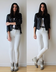Aria - H&M Skinny Jeans, Zara Python Boots, Vintage Leather Jacket, Asos Western Belt - With a touch of python