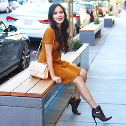 Rachel Vogt - Forever 21 Dress, Coach Boots, My Blog - Fall Neutral