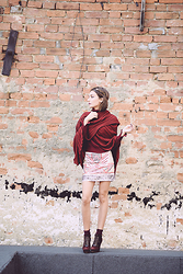 Gabriela A. - Zara Cape, Zara Turtleneck Burgundy, Zara Sequin Skirt, Musette Boots, Katerinimou Crown - The story of my wings