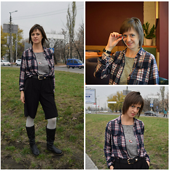 H.anna - Reserved Culottes, Reserved Plaid Shirt, Stradivarius Sweater, Bornprettystore Camera Necklace - My new camera!