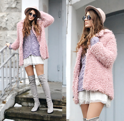 Alexandra M. - Reserved Hat, Light In The Box Grey Over Knee Boots, Light In The Box Pink Faux Fur Coat - Soft Clouds