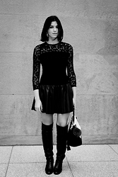 Tina Gallo - Zara Lace And Leather Dress, Zara Overtheknee Boots, Céline Trapeze - BERLIN