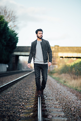 Akash Raja - Next Charcoal Suede Bomber Jacket, Next Jumper, Zara Black Jeans - This Journey