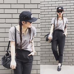 Amy Ha - Icon Brand 5 Panel, Topshop High Waisted Trousers, Asos Loafers - Hat Off to Monochromatic