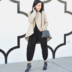 Melinda Fleming - Custom Cashmere Coat, Exclusive Ysl Handbag, Alysia Booties - Win a pair of ALYSIA Leather Booties $288 Value! Curatedcool