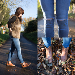 Elle Petite - H&M Gilet, Topshop Ripped Skinny Jeans, Topshop Ankle Boots, Quiz Turtle Neck Top - The Gorgeous Gilet