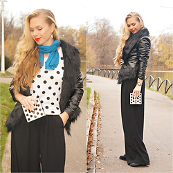 Federova Kik - Dressin Jacket, Choies Top, Bershka Pants, Alcott Scarf, Pupa Milano Makeup Kit - Black and Dots
