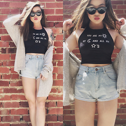 Amy Ha - Dresslink Halter Top, Cotton On High Waisted Shorts, Brandy Melville Usa Cardigan, Ray Ban Sunnies - SUN, MOON & STARS