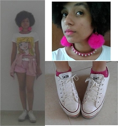 Barbara Maria - Marisa / Mattel Barbie Shirt, Second Hand Vintage Pink Jacket, Pink Shorts, D.I.Y. Pink Pompom Earring, Bracelet Used As A Choker, Adidas Pink Socks, Converse All Star - So you better run and hide