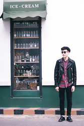 Neon Hoang - Topman Leather Jacket, Topman Skinny Jeans, Dr. Martens Leather Shoes - Wandering in 1960s