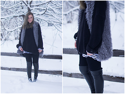 Jenaly Enns - Forever 21 Fuzzy Vest, American Apparel Fisherman Sweater, Frame Denim Le High Skinny Jeans, Zara Knee High Boots - Walking in a Winter Wonderland