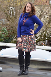 Sarah M - The Sting Turtleneck, Promod Skirt, New Look Necklace, Bullboxer Boots - Floral & Blue