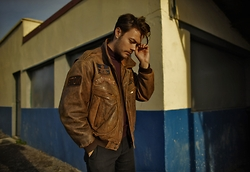 CLEMENT LOUIS . - Vintage Brown Leather Bombers, Cos Black Chino Trouser, American Vintage Red Turtle Necl - Sunny Christmas!