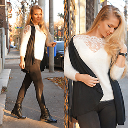 Federova Kik - Sheinside Shirt, Dressin Leggings, Alcott Vest - Black and White