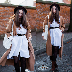 Gabriela Grębska - The Great Beyond Shirt Dress, Lookbookstore Long Coat, Romwe Hat, Asos Shopper Bag, Lakini Boots - Shirt dress