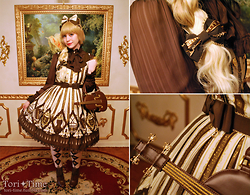 Tori - Angelic Pretty Quartet Chocolate, Angelic Pretty Quartet Chocolate Hairbow, Angelic Pretty Quartet Chocolate Otks, Baby The Stars Shine Bright Stripped Chiffon Blouse, Offbrand Classic Brown Booties, Angelic Pretty Chocolate Violin Bag, Angelic Pretty Melty Ribbon Chocolate Combs, Angelic Pretty Melty Ribbon Chocolate Wristcuffs, Lockshop Wigs Cascade Vanille - Style Swap: Quartet Chocolate