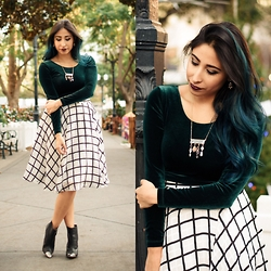 Brianna Ramirez - American Apparel Velvet Crop Top, Bebe Window Pane Circle Skirt, Boutique 4 Charm Necklace - Winter Wonderland