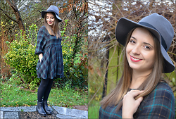 Mira Sophie L. - Cotton On Hat, Urban Outfitters Dress, H&M Boots - Autumnal winter