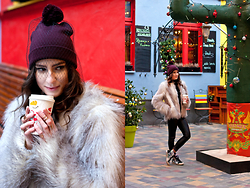 Anna Puzova - Diva Hat, H&M Fur, Colloseum Pants, Vans Shoes - Veiled Hat in Mexican Corner