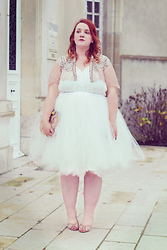 Audrey G. - Asos Beaded Cape, Bepoppy White Tutu Skirt, Naf Gilded Heels, Asos Clutch With Pink Feathers - Snow
