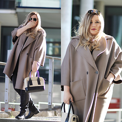 Theodora Flipper - Marina Rinaldi Coat, Kate Spade Bag - Best COAT ever