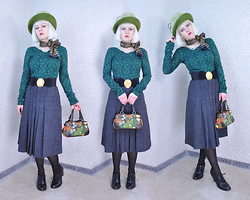 Suzi West - Kutz Hats 1960s Vintage Hat, Thrift Store Scarf, Holly Gordon's Pro Wardrobe Necklace, Silence + Noise Lace Long Sleeve Top, Vintage Belt, Vicky Sport Vintage Skirt, Caribbean Joe Small Floral Purse, Merona Patterned Tights, Mossimo Oxford Shoes - 05 December 2015