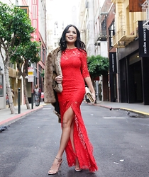 Rachel Vogt - Lulu*S Dress, Stuart Weitzman Shoes, Zara Fur Coat, My Blog - Lace & Fur for NYE