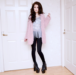 Julia Nilsson - Shein Pink Faux Fur, Shein Silver Tassel Top, Romwe Black Jeans, Unif Hellbounds - New Years