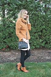 Michelle Orsi - Dresslink Sweater, Michael Kors Bag, Forever 21 Skirt, American Apparel Tights, Urban Outfitters Boots - Rust & Blush