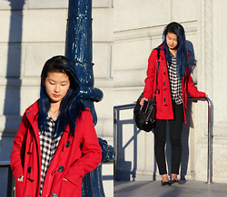 Angelina - Cooperative Red Toggle Coat, Zara Black And White Checkered Top, Gap 1969 Petite Black Legging Jean, Sam Edelman Felicia Black Leather Flats - Asian art museum red