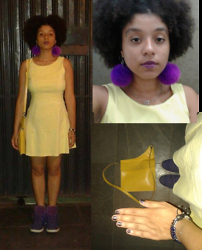 Barbara Maria - Yellow Dress, Converse Second Hand Sneakers, D.I.Y. Pompom Earrings, Pinkbiju Handcuff Necklace, Cantão Second Hand Bag, Avon Jewerly Bracelets - Last night I turned around and thought I saw myself turning