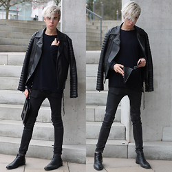 Emil D - Zara Jacket, Ee Sweater, Valentino Bag / Clutch, Zara Jeans, Hennes & Mauritz Boots - Black is the new black