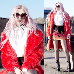 Kayla Hadlington - Topshop Red Coat, Goth Crop Shirt, Glitter Fishnets, Prada Sunglasses - NORM LIFE BABY