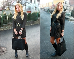 Gosia Borychowska - Sheinside Dress, Mohito Shopper Bag - Military style dress