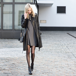 Dana Lohmüller - Christ Leather Fashion Trench Coat, Asos Skater Dress, Michael Kors Crossbody Bag, Buffalo Ankle Boots, Calzedonia Tights With Seams - Leather Trench Coat