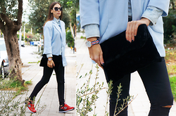 LIA IGAM - Poppy Lovers Baby Blue Coat, Poppy Lovers Black Faux Fur Clutch Bag, Chanel Blue Sunglasses, New Balance Red 574 - 2016 Shoe Trend: New Balance