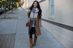 Rachel Vogt - H&M Jacket, Ugg Boots, Nordstrom Scarf, Nordstrom Front Drape Jacket, Body Con Dress, My Blog - Winter Casual