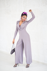 Melody Jacob - Axparis Grey Jumpsuit - GREY FLARE JUMPSUIT