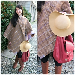 Caliope - Esprit Plaid Poncho, Blonde Accessories Camel Fedora Hat, Flip Flop Tan Boots, See By Chloé Bag - Plaid Poncho