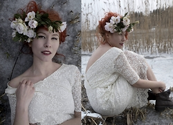 Senoel S - Diy Flower Headpiece, Flea Market, Sweden Lace Dress, On The Flea, Stockholm Vintage Boots - Nordic blossom .