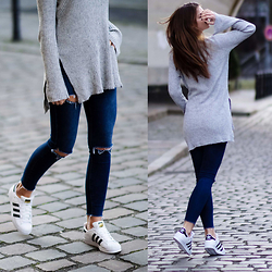 Jacky - Asos Sweater, Subdued Jeans, Adidas Sneakers - Superstars