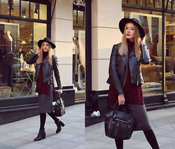 Oxana Guţu - Nine West Black Bag, Mango Black Leather Jacket, Mango Black Boots - Black hat