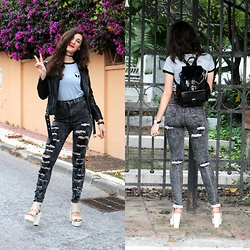 Cristina Z. - Pinkbasis High Waisted Jeans, Pinkbasis Platforms, Rosegal Leather Bag, Cndirect Alien Tshir - Alienated