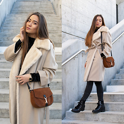 Romina Ch - Max Mara Coat, Minelli Bag, La Halle Boots, Dkny Watch - Ivory and Black