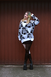 Alison Videoland - H&M Darth Vader, American Apparel B/W Tights, Demonia Plateau Boots - Luke, I am your father