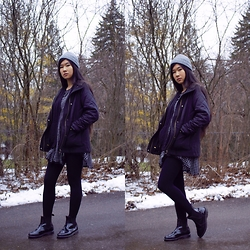 Jenny Ruan - Topshop Coat, Urban Outfitters Dress, Dr. Martens Boots, Urban Outfitters Beanie - First post