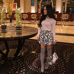 Rachel Vogt - Forever 21 Top & Skirt, Stuart Weitzman Otk Boots, Stella Mccartney Bag, My Blog - OTK & Skater skirt