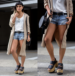Alessandra Mazzini - Camote Soup Coat, Dvk Top, Quimera Shoes - Coat and shorts